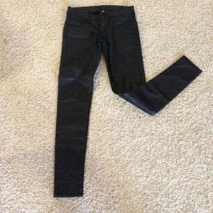 WAXED SKINNY DENIM JEANS - BLACK