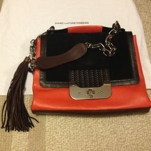 DVF leather coral hand purse w shoulder strap