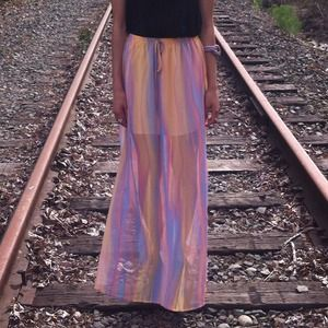 Dresses & Skirts - Pastel Multi Color Slit Maxi Skirt Orange Purple