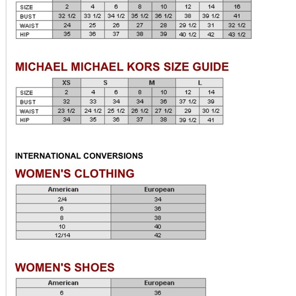 Michael kors other sizing chart poshmark