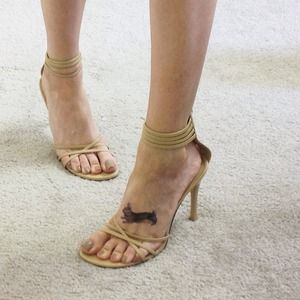 Shoes - Tan Strappy Heel Sandals Ankle Strap