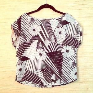 Dabney Tops - VINTAGE Black White Graphic Sheer Top