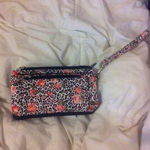 Pink rose leopard print wallet clutch
