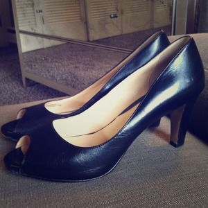 Cole Haan Black Peep Toe Pumps!!