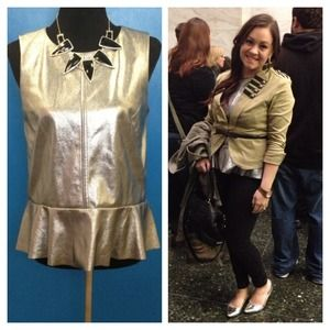 Metallic Silver Sleeveless Leatherette Peplum Top