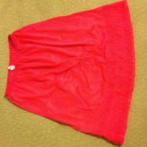 Vintage coral red lace trimmed slip