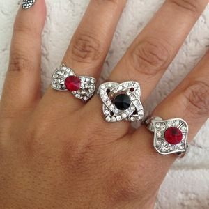 NEW Faux Sapphire & Ruby Cocktail Ring