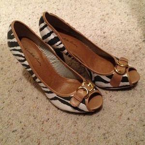 Zebra and brown heels size 7