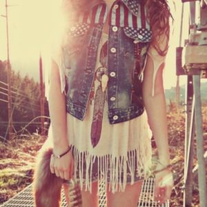 American Flag Denim Vest