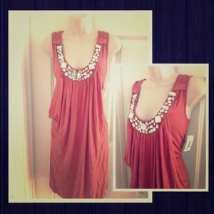  Coral orange jeweled dress