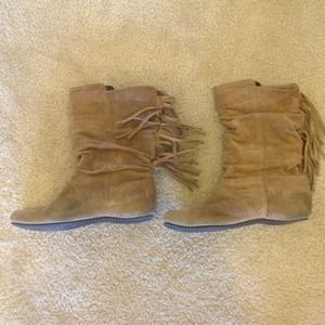 ALDO Suede brown boots with fringe