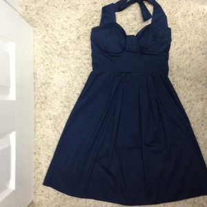 Navy blue halter dress!