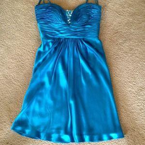 Dresses & Skirts - 100% Silk blue embellished dress