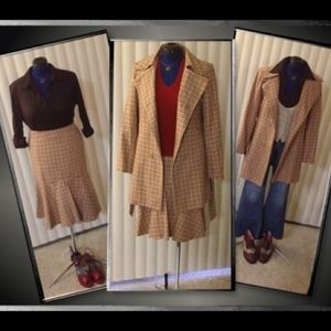 Dresses & Skirts - Adorable plaid skirt & trench coat suit