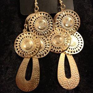 Gold Tone drop earrings