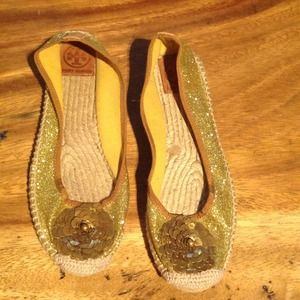 Tory Burch Shoes - -reserved- Authentic Tory Burch gold sparkle flats