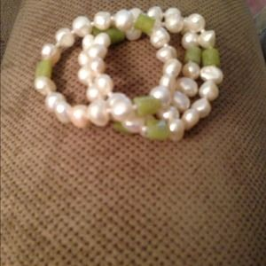 Faux pearl stone with green