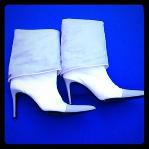 Chanel from Neimans fold over white and grey boots