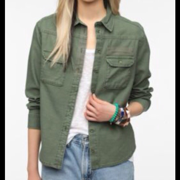 59% off BDG Tops - BDG army green button down surplus shirt from ...