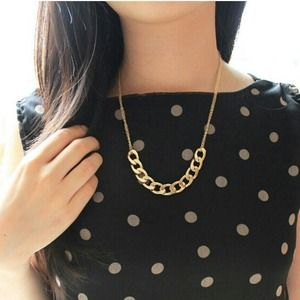 Chunky Half Chained Gold Necklace