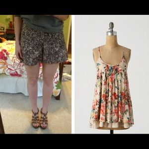 Reserved Bundle: Anthro Shorts and Floral Tank