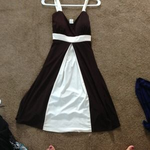 Brown and white dress