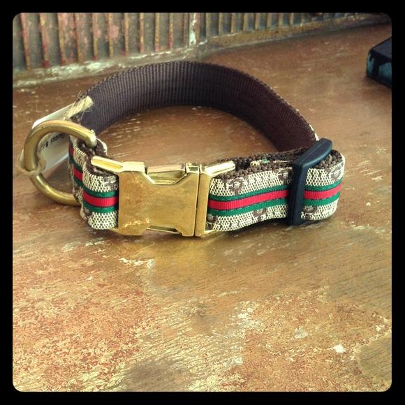 Gucci print dog collar