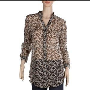 Tops - Leopard chiffon button down shirt