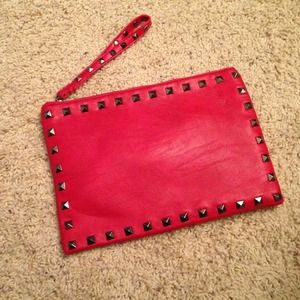 RED STUDDED CLUTCH