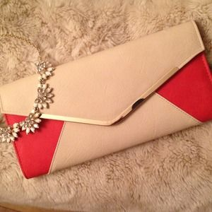 Clutches & Wallets - Two tone envelope clutch with removable gold chain