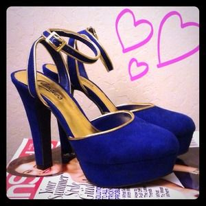 Candies Shoes - Candies Royal Blue Platform Heels