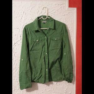 Womens Green Button Up Shirt | Is Shirt
