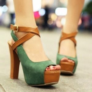 Shoes - *Sold* Thick color block heels