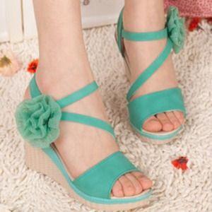 Shoes - ¥ SOLD ¥  Flower Wedge Sandal