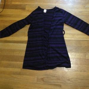 Sheer black and dark purple striped cover up