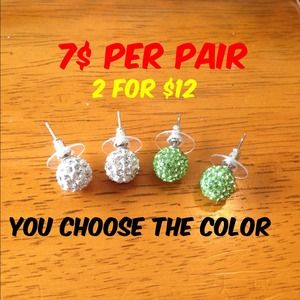 Jewelry - Shamballa earings you choose color!!