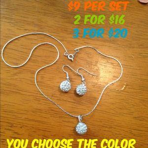 Jewelry - Shamballa necklace and earing set