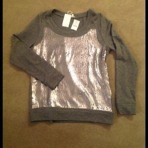 J.Crew Cotton Sweatshirt with Sequins
