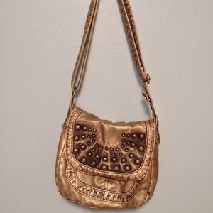Gold studded metallic leatherette shoulder bag