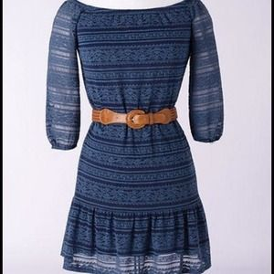 Blue all-over lace 3/4 sleeve dress
