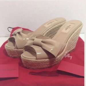 Valentino Shoes - Valentino Mena Bow Espadrille Slide Wedges