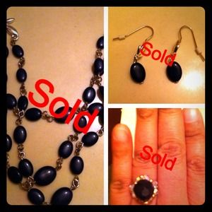 Beautiful Black Onyx 3 piece Jewelry set.