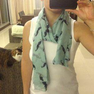 Accessories - Green mustache scarf!