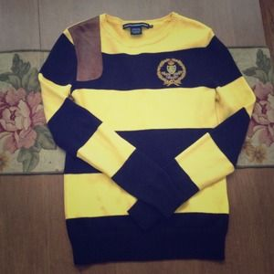 RL navy and yellow stripped sweater