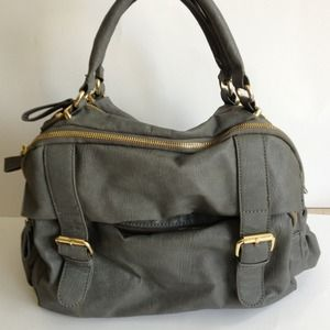 Grey handbag with Gold hardware