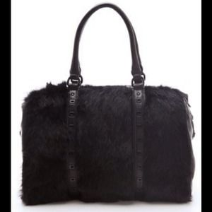 Rebecca Minkoff black rabbit fur Riley Satchel