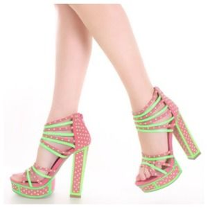 SALE Coral & Neon Green Studded Platform Sandals