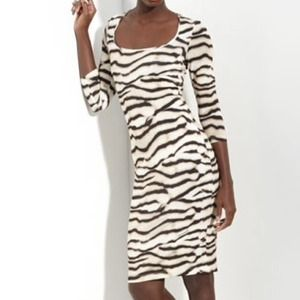 Just Cavalli Tiger Print 3/4 Sl. Dress 44/8 NWT