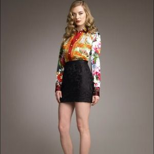 Dolce&Gabbana Black Floral Lace Miniskirt 8/42NWT