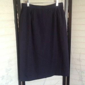  Vintage Navy Blue Pencil Skirt 10